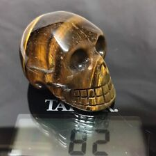 "2"" Tiger Eye Skull Figurine Carved Crystal Polished Natural Stone Pocket Size"