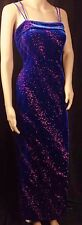 Royal Blue Velvet Stretch Starburst Neon Pink Pageant Gown Prom Cruise Dress M