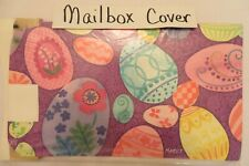Magnetic Mailbox Cover Colorful Easter Eggs on Purple, Flowers & Swirls
