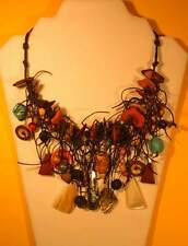 UNIQUE & Handmade ETHNIC-INSPIRED (Tribal) BIB NECKLACE... Wearable Art!