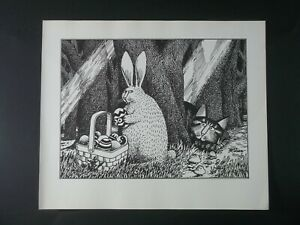 B Kliban Cats Stalking Easter Bunn Vintage ORIGINAL Funny Cat Art Print 1981