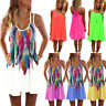 Plus Size Womens Sundress Beach Casual Strappy Short Mini Dress Bikini Cover Up