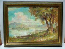 """Egon Müller-Graf - """"Abendsonne am See"""" Dekoratives Ölgemälde, entst. 1940-60"""