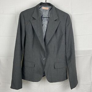 SUN Gray Striped Long Sleeve Padded Shoulders Collared Button Suit Jacket Size M