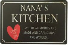Nana's Kitchen Plaque Sign Wall Decor Rustic Metal Tin Sign