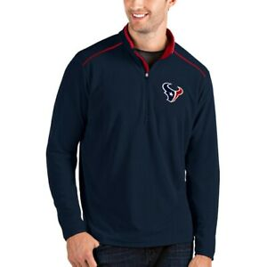 Men's Houston Texans Antigua Navy/Red Glacier Quarter-Zip Pullover Jacket size M