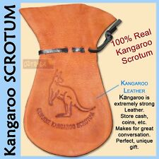 ●oZtrALa● Kangaroo SCROTUM Large Pouch REAL Australian Leather Wallet Coin Gift●