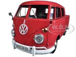VOLKSWAGEN TYPE 2 (T1) DOUBLE CAB PICKUP TRUCK WAX RED 1:24 MOTORMAX 79343