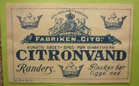 OLD SOFT DRINK CORDIAL LABEL, 1950s FABRIKEN CITO RANDERS DENMARK CITRONVAND 1