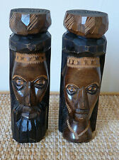 "7"" Jamaica Hand Carved Male & Female Solid Wood Totem Pole Figures Signed Statue"