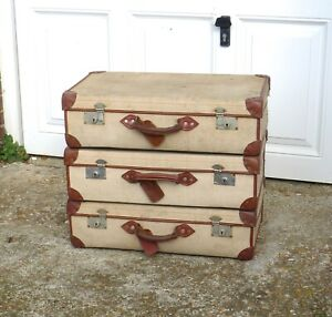 set of 3 VINTAGE 1970's BRITISH ARMY MILITARY SUITCASES + KEYS canvas + leather