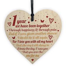 Anniversary 1st Wedding Anniversary Engagement Wooden Heart Plaque Gift Keepsake