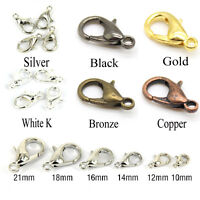 Lots 20-100PCS Silver/Gold/Bronze Lobster Claw Clasps Hooks 10mm/12mm/14mm/16mm