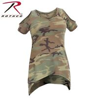 Rothco Womens Camo Cold Shoulder Top - Ladies Vintage Green Camo Flare Cut Shirt