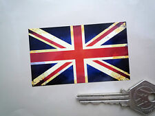 Union Jack Flag Classic Aged Car Bike STICKERS 75mm Pair British GB Motorcycle