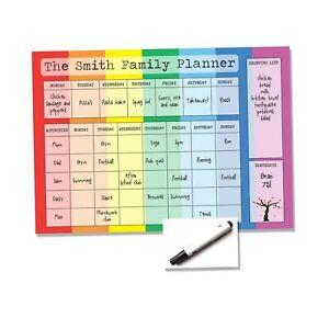 Rainbow Family Planner - White Board Wipe Clean - To Do List Organiser Kids Food