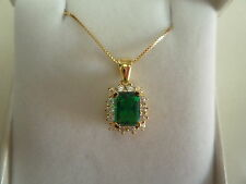 "new 9k box chain 18"" & pendant rectangle shaped green emerald stone + white zirc"