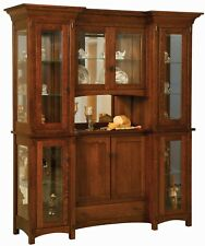 Amish Arts & Crafts Mission Hutch China Cabinet 4-Door Solid Wood Alvada 72""