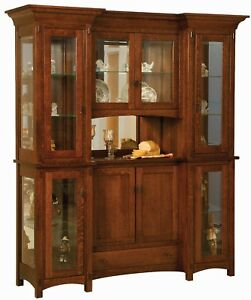 "Amish Arts & Crafts Mission Hutch China Cabinet 4-Door Solid Wood Alvada 72"""