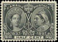 1897 Mint H Canada F-VF Scott #50 `DOT in R` 1/2c Diamond Jubilee Stamp