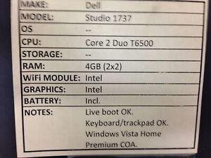 Dell Studio 1737 *Parts/Repair* Core 2/4GB/BATT - No OS/HDD/CHRG