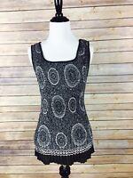 Dressbarn Woman's Evening Blouse Sleeveless Black/Grey Beaded Formal, Size S, A2