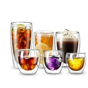 8 Pcs  Cafe Coffee Mug Bodum Double Wall Glass Heat Insulation  Milk Cup
