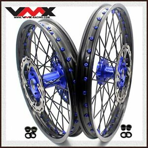 VMX 21/19 MX Dirt Bike Wheels Rim Fit KAWASAKI KX250F KX450F 06-14 Disc Blue