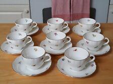 Gustavsburg Sweden Set/8 Cups & Saucers, Porcelain, 4 oz Demitasse, Vintage