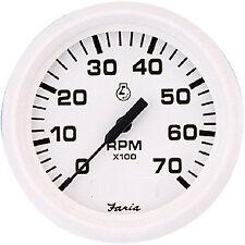 "GAUGE BOAT TACHOMETER 7000 RPM 4"" OUTBOARD DRESS WHITE SERIES FARIA 33104"