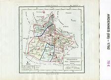 Dépt 08 - XVIII ème Carte des Ardennes Superbe Gravure Cuivre Aquarellée 1792