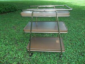 Vintage Mid Century 3 Tier Metal Rolling Bar Serving Cart