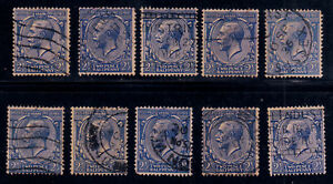 GREAT BRITAIN #191 Used 2.5p Ultramarine 10 Stamps 1924 TYPOGRAPHED SCV $40.00