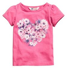 H&M H M Girls T Shirt Top- Floral Flowers, Butterfly, Heart. Pink. Size 2 3 4