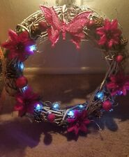 Beautiful handmade Christmas white grapevine wreath with white lights