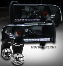 94-01 DODGE RAM TRUCK DRL LED BLACK CRYSTAL HEAD LIGHT W/FOG LAMP 1500 2500 3500