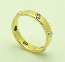 Cartier Vintage LOVE 18K Yellow Gold Ruby Emerald Diamond Band Ring Size 7.5 Y12