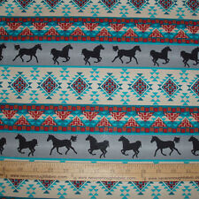 Cotton Fabric Native American Spirit of the Southwest on Gray Horses  BTY