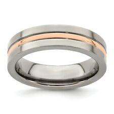 Edward Mirell Titanium 6mm 14k Rose Gold Inlay Grooved Wedding Band Sizes 7 - 13
