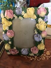 3D Ceramic Spring Flower Floral 5x7 Photo Picture Frame Table Top
