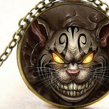New Bad Cheshire Cat Pendant Necklace, Madness, Evil Demonic Demon Eyes and Face