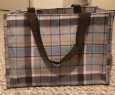 THIRTY-ONE SMALL UTILITY TOTE BAG Brown Blue Stripes