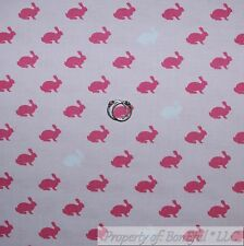 BonEful Fabric Cotton Quilt VTG Pink White Easter Bunny Rabbit Stripe Baby SCRAP