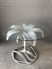 Lily Side Table by Arthur Court Hollywood Regency Cast Aluminum White Patina