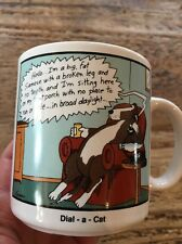 1988 Vintage THE FAR SIDE Funny Ceramic COFFEE MUG CUP Dial a Cat Gary Larson