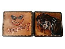 Men's 3D Genuine Leather Wallet, Money Clip, Hand-Carved, Joker, Heath Ledger