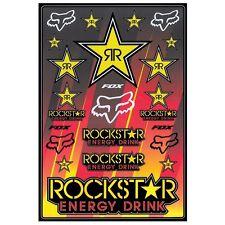 """Fox Racing Rockstar Decal Sticker Sheet 13"""" x 19"""""""