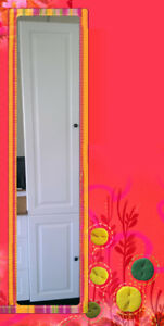 Flat Pack Kitchen Cabinet Broom Cupboard Pantry 400 Flat High Gloss White