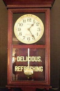 "Vintage 1984 Coca Cola Wall Clock Works Great 24""  Wood Case"