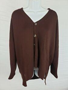 NWT $1,295 Eskandar 3/4 Width Longer Back Cardigan One Size Red Brown Sweater